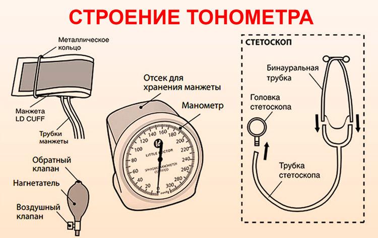 Строение механического тонометра
