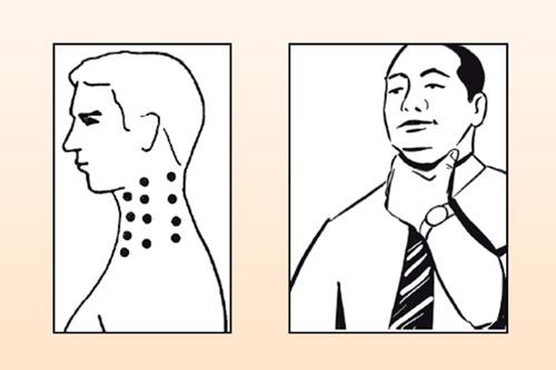 точечный массаж на шее