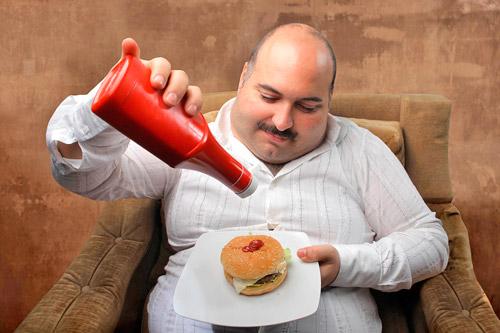 У мужчины ожирение
