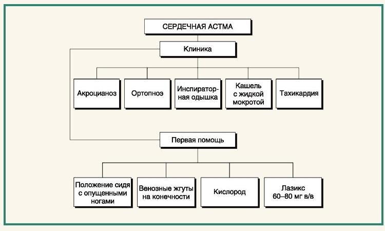 Клиническая картина сердечной астмы